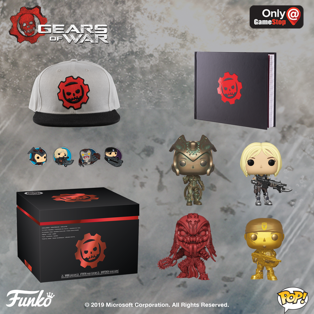A Collector's Box is shown unpacked. There is a hat with the Gears Pop logo and a notebook with the Gears Pop logo. Four Funko Pop! figures are shown: Anya, Queen Myrrah (Pantina Dipped), Skorge (Mono-Red Dipped) and Marcus Fenix (Gold Dipped) with matching character pins.