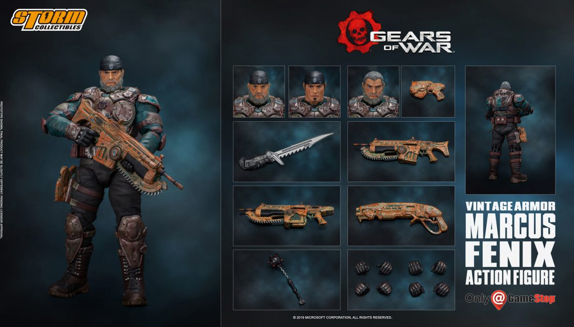 A Storm Collectible figurine of Marcus with a vintage skin. Three head choices are shown along with 5 equippable weapons, a Frag Grenade and four pairs of interchangable hands.
