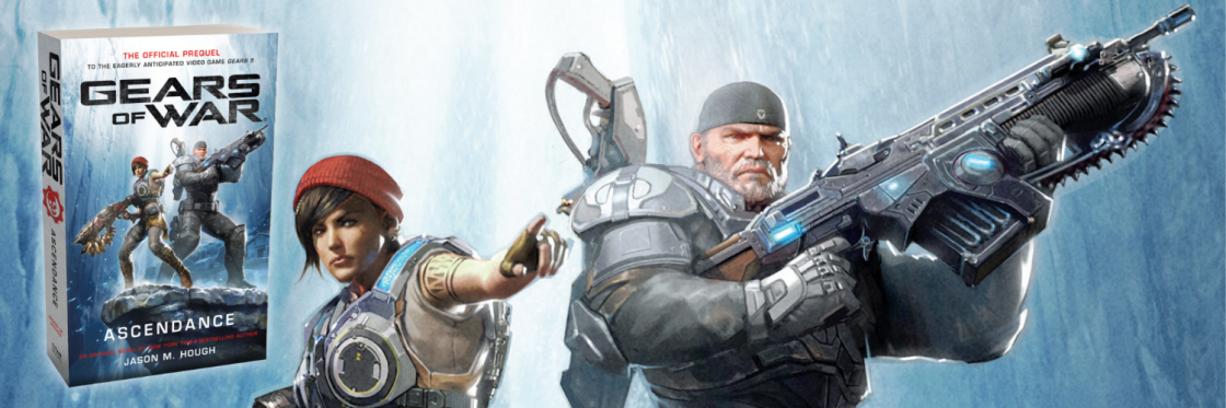 Gears of War: Ascendance novel is off to the left featuring Kait Diaz and Marcus Fenix standing on an icy cliff. Behind the book is a zoomed in shot of the cover art.