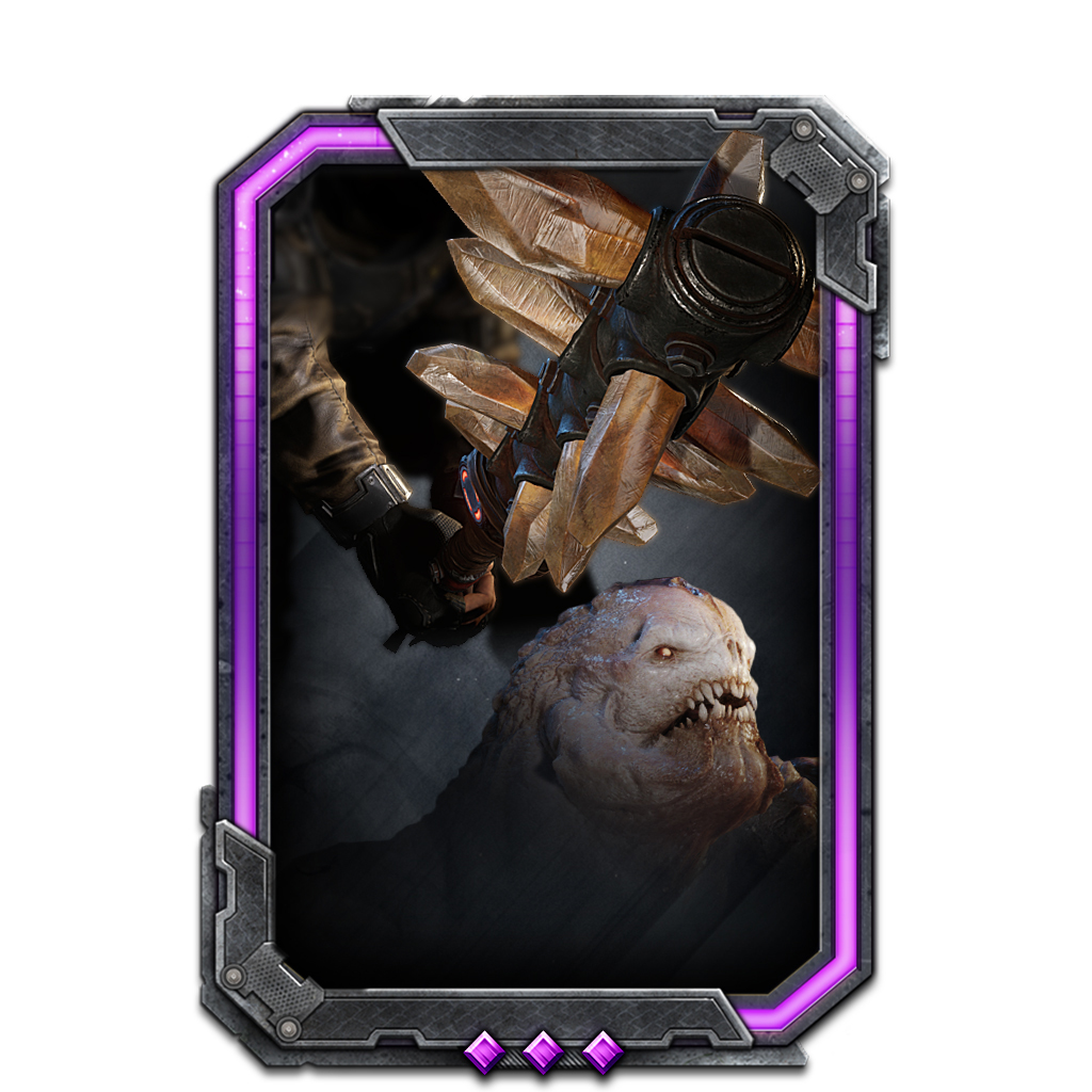 Card: A Breaker Mace is swinging downwards onto a Drone's head from behind