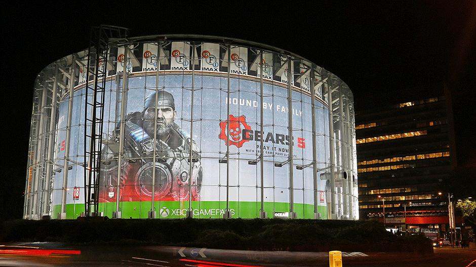 A huge Gears 5 billboard is shown at the BFI Imax in London