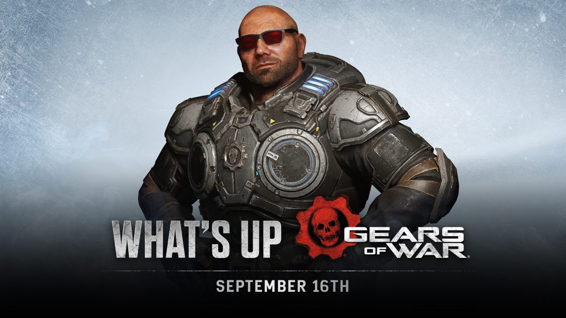Batista in Marcus' armor stands with hands on his waist, smiling at the camera