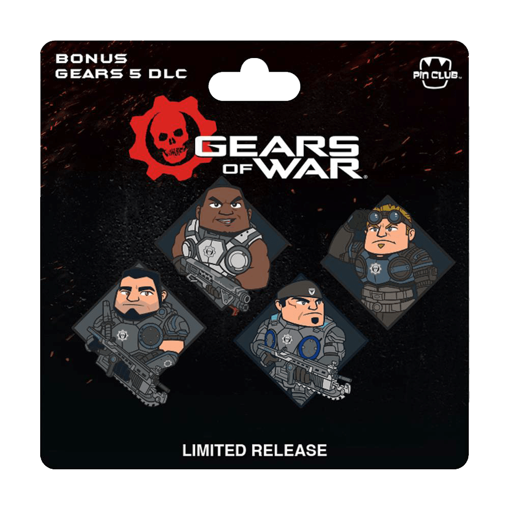 A set of four Gears of War pins featuring members of Delta Squad
