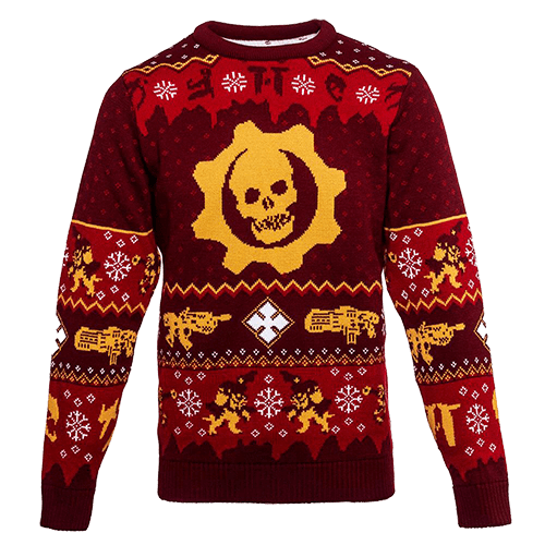 "A Gears of War-themed ""ugly"" christmas sweater featuring the omen logo and other Gears symbols"