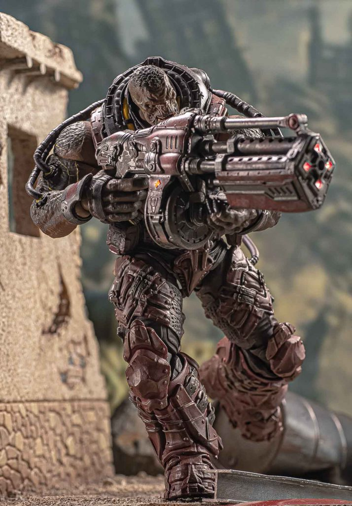 The Locust Disciple 1/12 scale action figure in an active battle-pose
