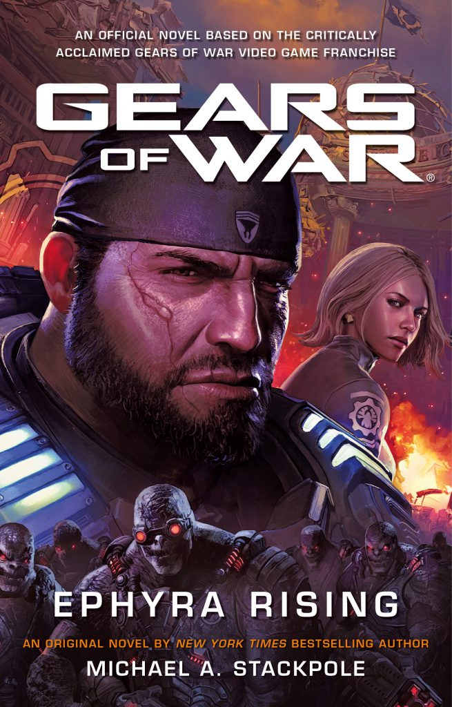 The complete front cover of Gears of War Ephyra Rising novel, featuring a close-up of Marcus Fenix and Anya Stroud
