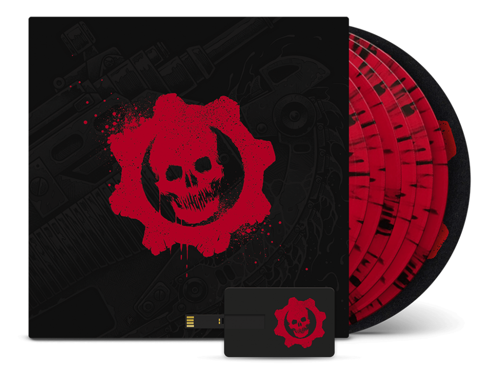 The box art for the Gears of War: Original Trilogy soundtrack vinyl collection